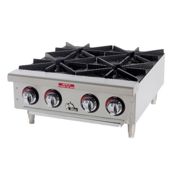 "Star Manufacturing 604HF 24"" Gas Hotplate - 4-Burners, Manual Controls, 4-in Legs"