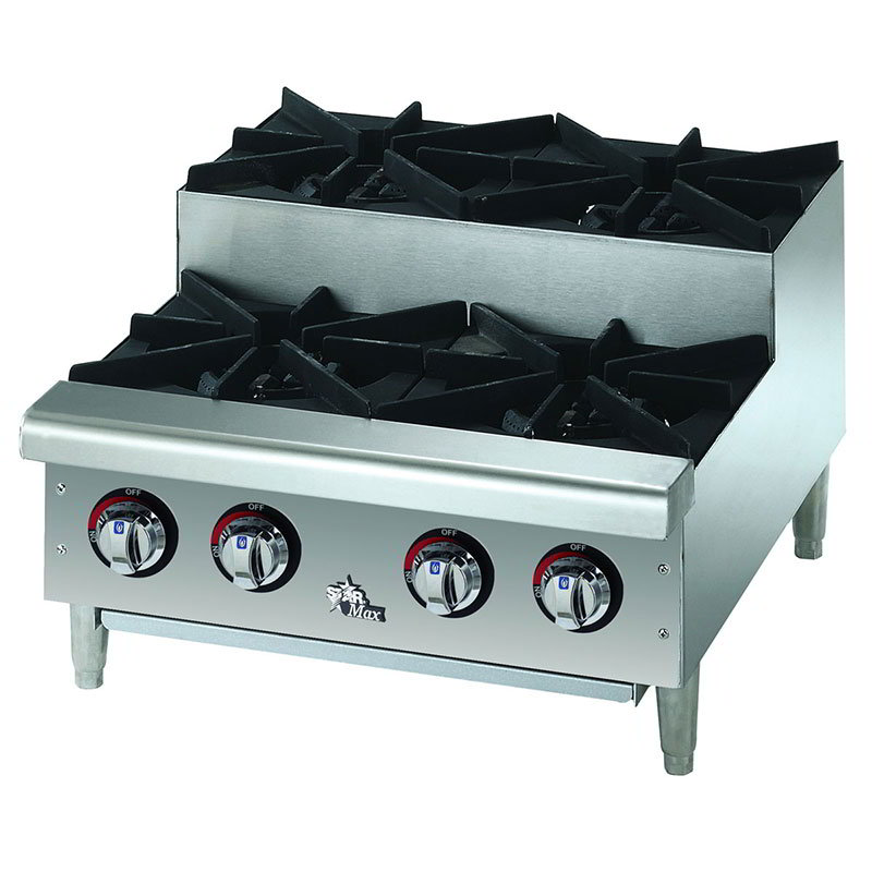 Star 604HF-SU 24-in Step Up Gas Hotplate w/ 4-Burners & Manual Controls