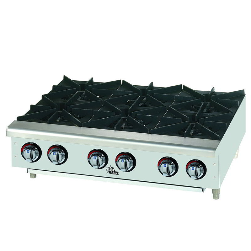 "Star 606HF 36"" Gas Hotplate - 6-Burners, Manual Controls"