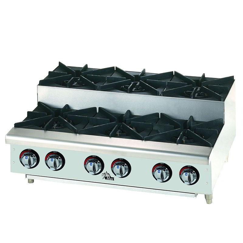 "Star Manufacturing 606HF-SU 36"" Hotplate - 6-Burners, Manual Controls, NG"