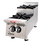 "Star 802HA-SU 12"" Step-Up Hotplate - 2-Burners, Manual Controls, 60000-BTU, NG"