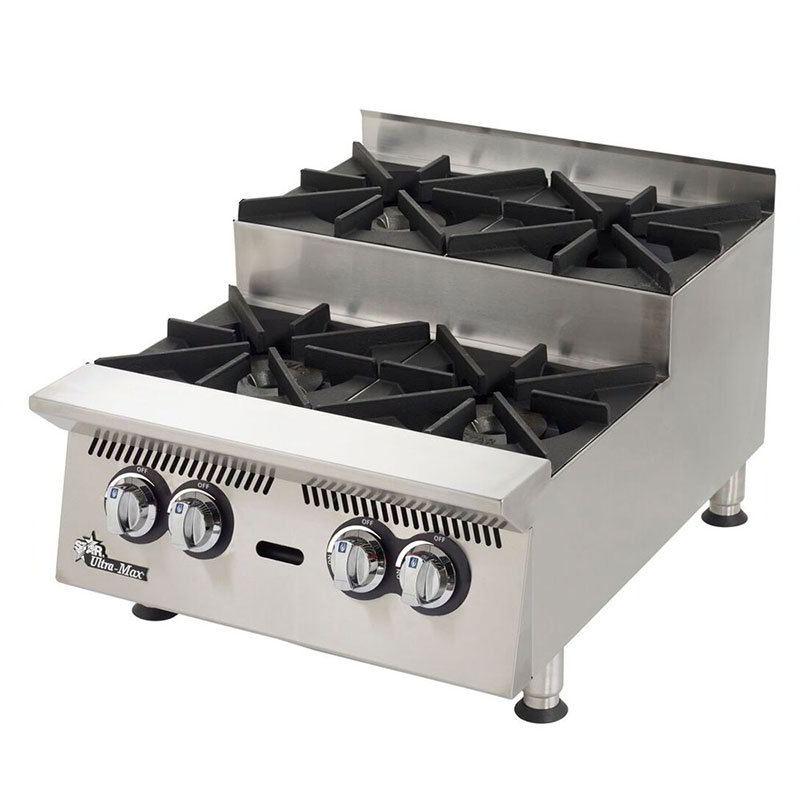 "Star 804HA-SU 24"" Step Up Hotplate - 4-Burners & Manual Controls, 120000-BTU, NG"
