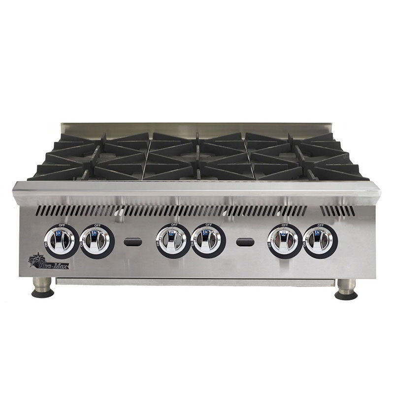 "Star 806HA 36"" Hotplate - 6-Burners & Manual Controls, 180000-BTU, NG"