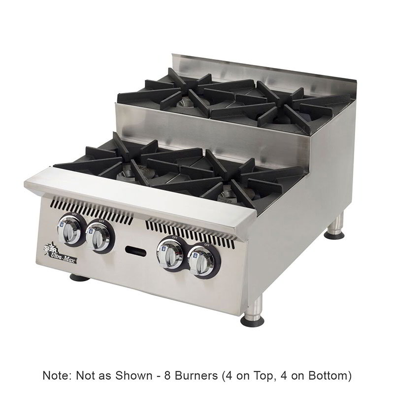 "Star 808HA-SU 48"" Step-Up Hotplate - 8-Burners & Manual Controls, 240000-BTU, NG"