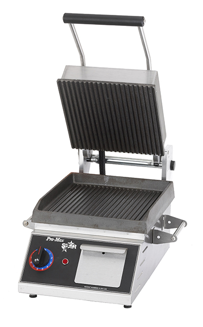 Star Manufacturing CG10IE 2082401 Panini Grill w/ Grooved Plates & Thermostatic Control, 1800-watts, 208/240/1 V