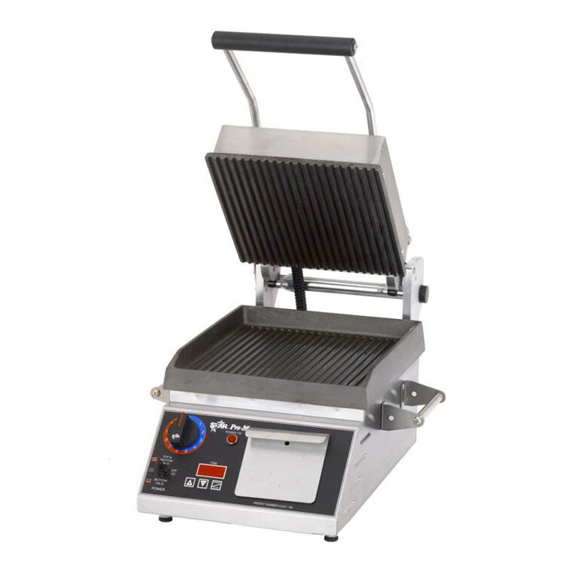 Star PGT7IE Commercial Panini Press w/ Cast Iron Grooved Plates, 120v