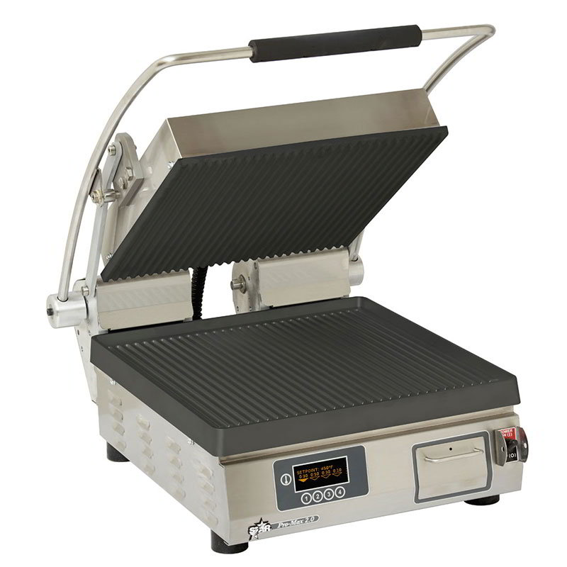 "Star Manufacturing PGT14IEGT Panini Grill, 14 x 14"", Grooved Upper, 208/240v"