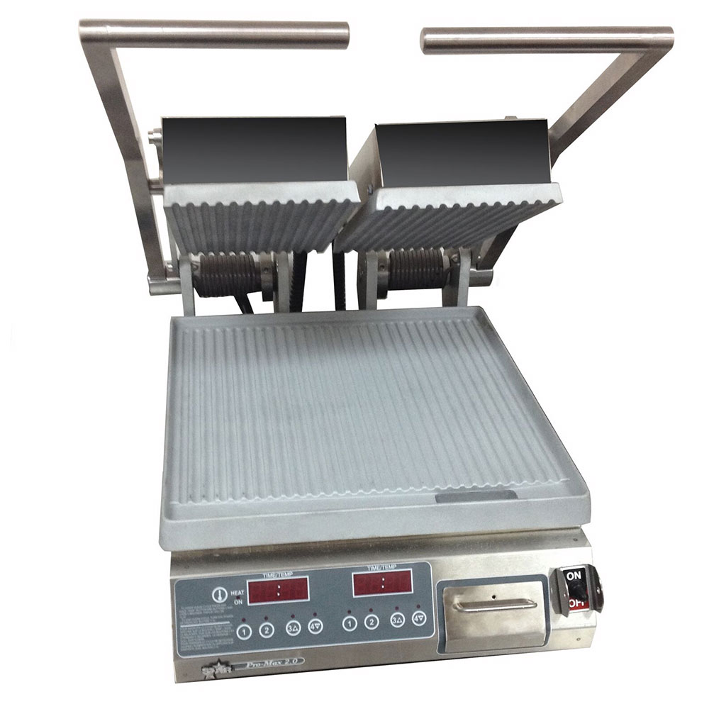 Star PGT14D Double Commercial Panini Press w/ Aluminum Grooved Plates, 120v