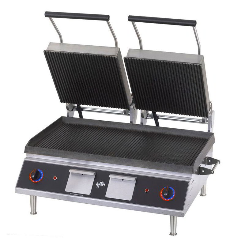 Star PGT28I Double Panini Grill w/ 14 x 28-in Grooved Cast Iron Plates, 208/1v