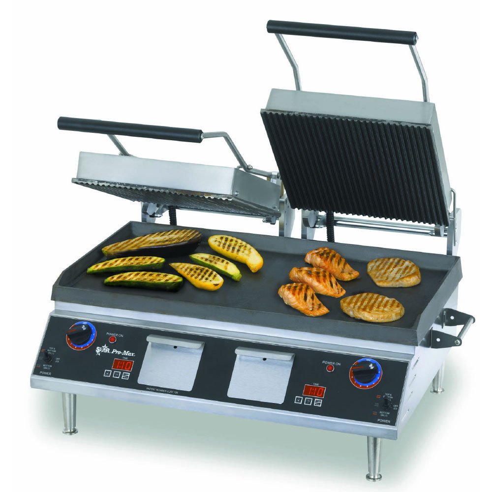 Star CG28IEGT Double Commercial Panini Press w/ Cast Iron Grooved Plates, 208-240v/1ph