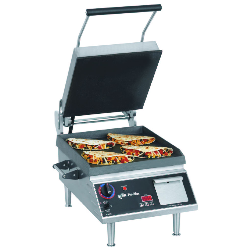 "Star PST14IT 2-Sided Grill w/ Timer, HD Smooth Iron Plates, 14 x14"" Surface"