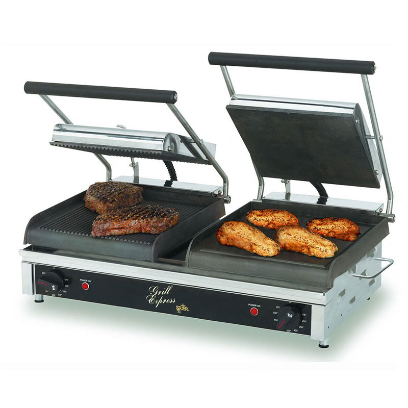 Star GX20IGS Double Commercial Panini Press w/ Cast Iron Grooved Left/Smooth Right Plates, 208-240v/1ph