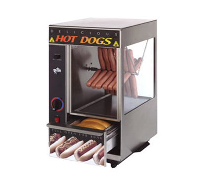 Star Manufacturing 174SBA Hot Dog Broiler w/Bun Warmer, Spike Type, 24-Dog/ 12-Buns