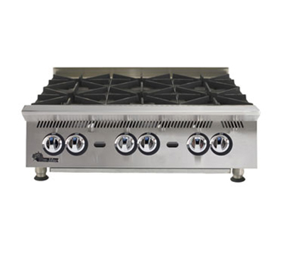 "Star Manufacturing 806HA 36"" Hotplate - 6-Burners & Manual Controls, 180000-BTU, NG"