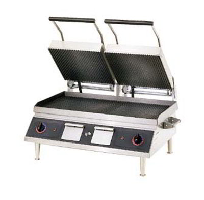 Star Manufacturing PGT28IE Double Panini Grill w/ Hinged Upper Grills & Grooved Plates, 208/240v