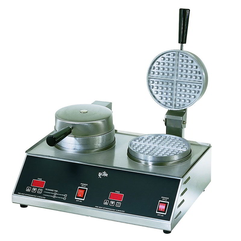 Star SWB7R2E240 Standard Waffle Baker, Double, 7 in Round Grids, 208/240 V