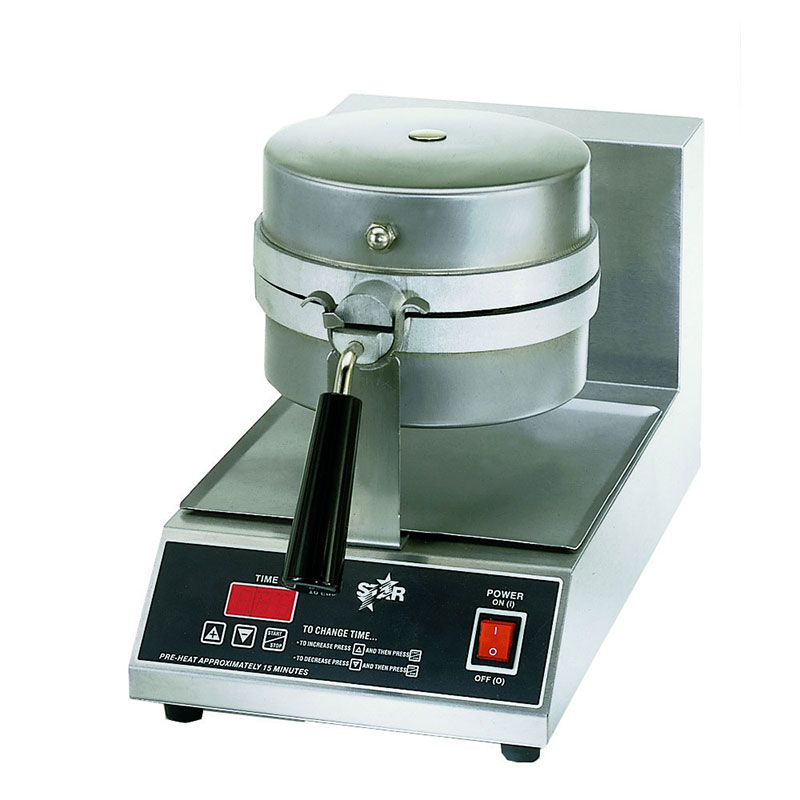 Star SWB8RBLE240 Belgian Waffle Baker, Single, 8 in Round, 1 in Thick Grid, 208/240 V
