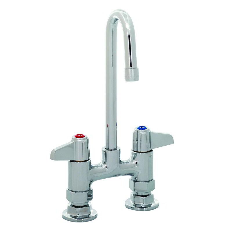 """T&S 5F-4DLX03 Equip Faucet, Deck Mount, 4"""" Centers, 3 Rigid Gooseneck"""