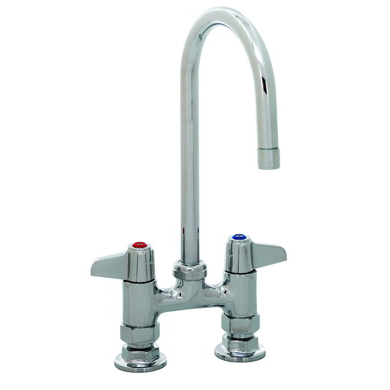 """T&S 5F-4DLX05 Equip Faucet, Deck Mount, 4"""" Centers, 5-1/2"""" Swivel Gooseneck"""