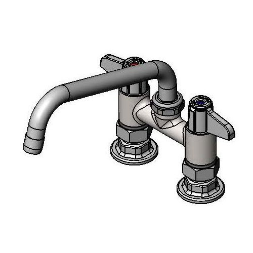 T&S Brass 5F-4DLX08 Equip Faucet, Deck Mount, 4 in Centers, 8 in Swivel Spout