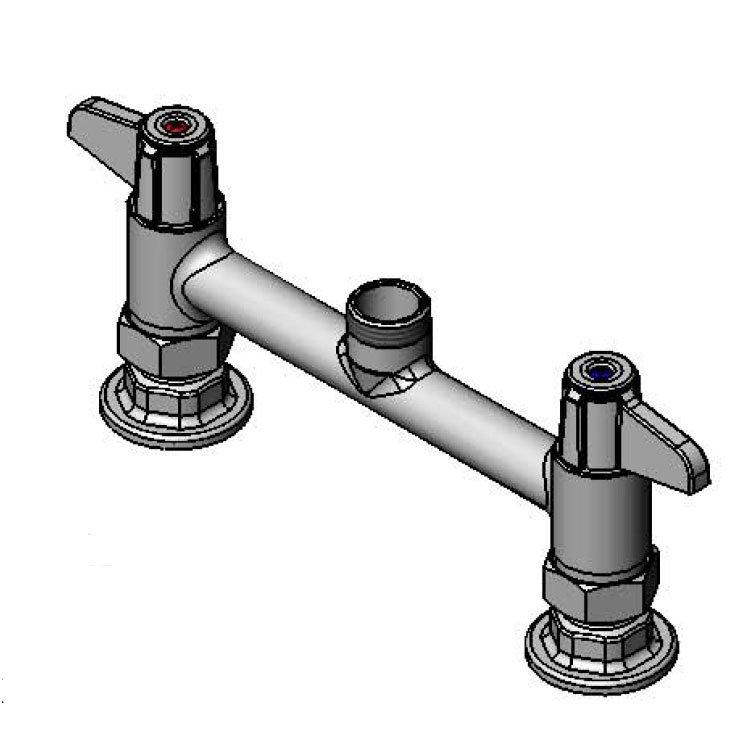 """T&S 5F-8DLX00 Equip Faucet, Deck Mount, 8"""" Centers, Less Nozzle, 2"""" Flange"""