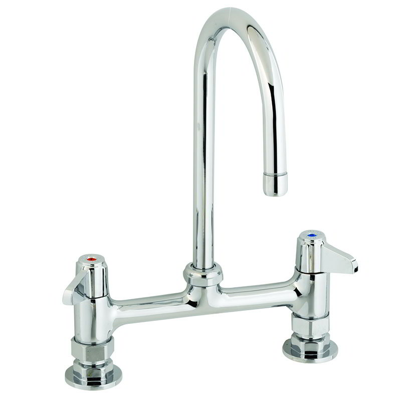 T&S Brass 5F-8DLX05 Deck Mount Faucet w/ 5-1/2-in Swivel Gooseneck, 8-in Center