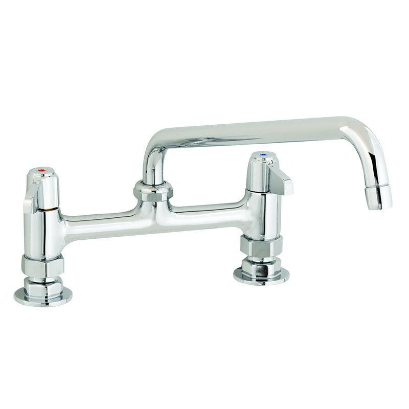"""T&S 5F-8DLX10 Equip Faucet, Deck Mount, 8"""" Centers, 10"""" Swivel, 2"""" Flange"""