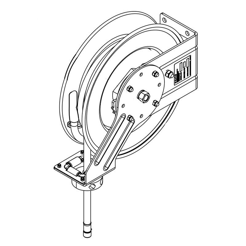 T&S Brass 5HR-342-GH Hose Reel, 50 ft x 1/2 in, Spray Gun/Valve, 3 ft Connector Hose