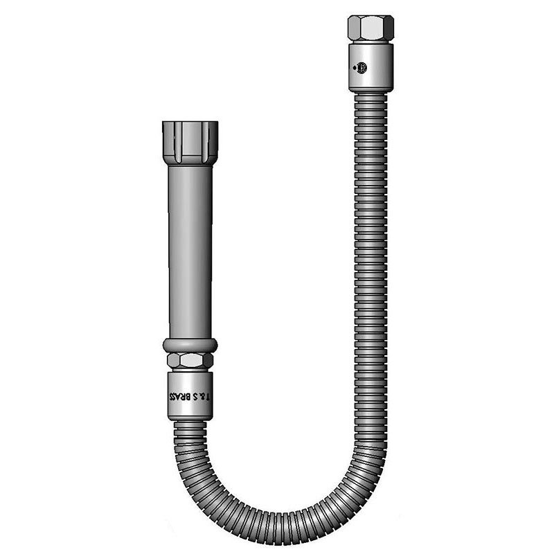 T&S Brass B-0026-H Hose, 26 in, Flexible SS, For Prerinse Over Head Swivel Goosenecks