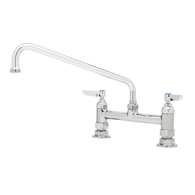 "T&S B-0221 Deck Mixing Faucet w/ 12"" Swing Nozzle, 8"" Center"