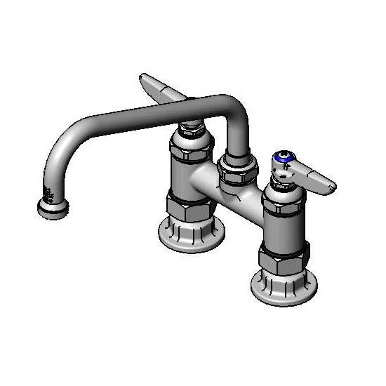 T&s Brass B-0227 Deck Mixing Faucet w/ 8-in Swing Nozzle, 4-in Center