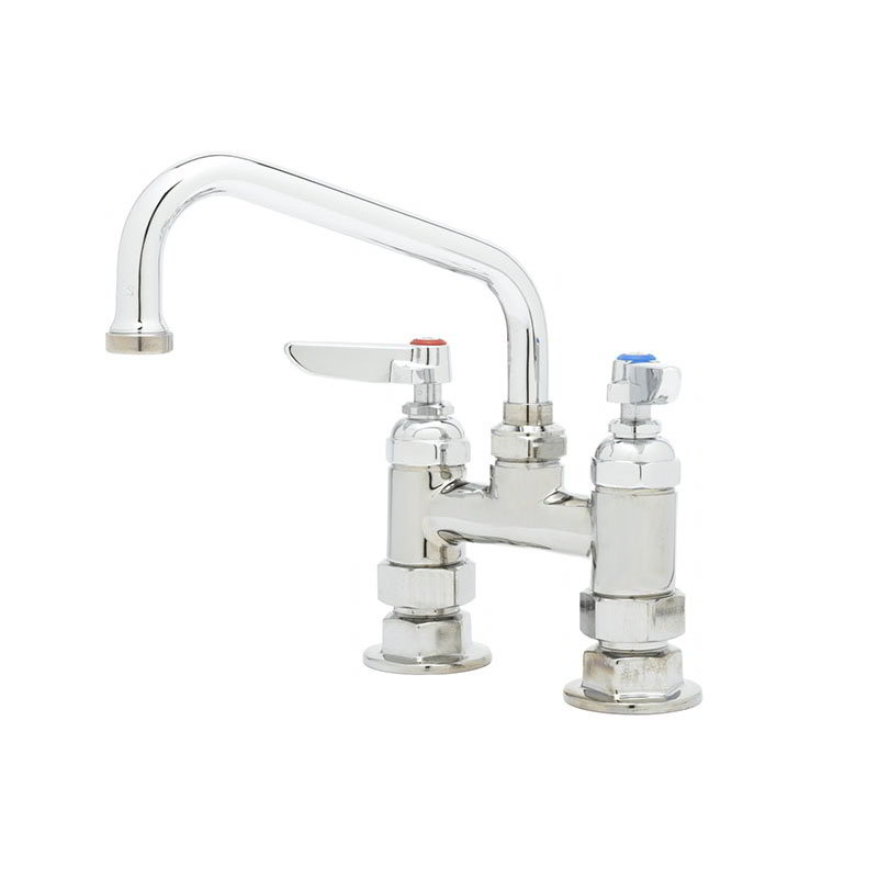 "T&S B-0228 Deck Mixing Faucet w/ 6"" Swing Nozzle, 4"" Center"