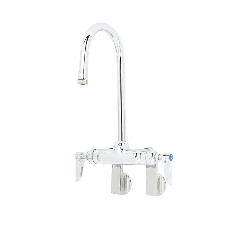 T&S B-0340 Faucet, Splash Mount, Rigid Gooseneck, 10-1/4 in H, Female Inlets