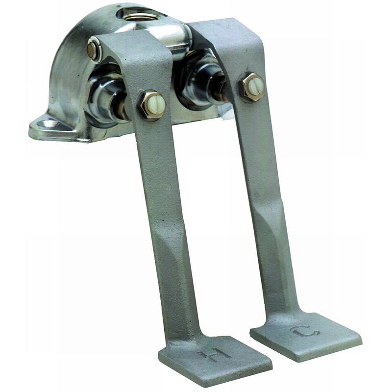 T&S Brass B-0505 Double Pedal Valve Ledge Mounted Rough Chrome Plated 2-1/2 Centers Restaurant Supply