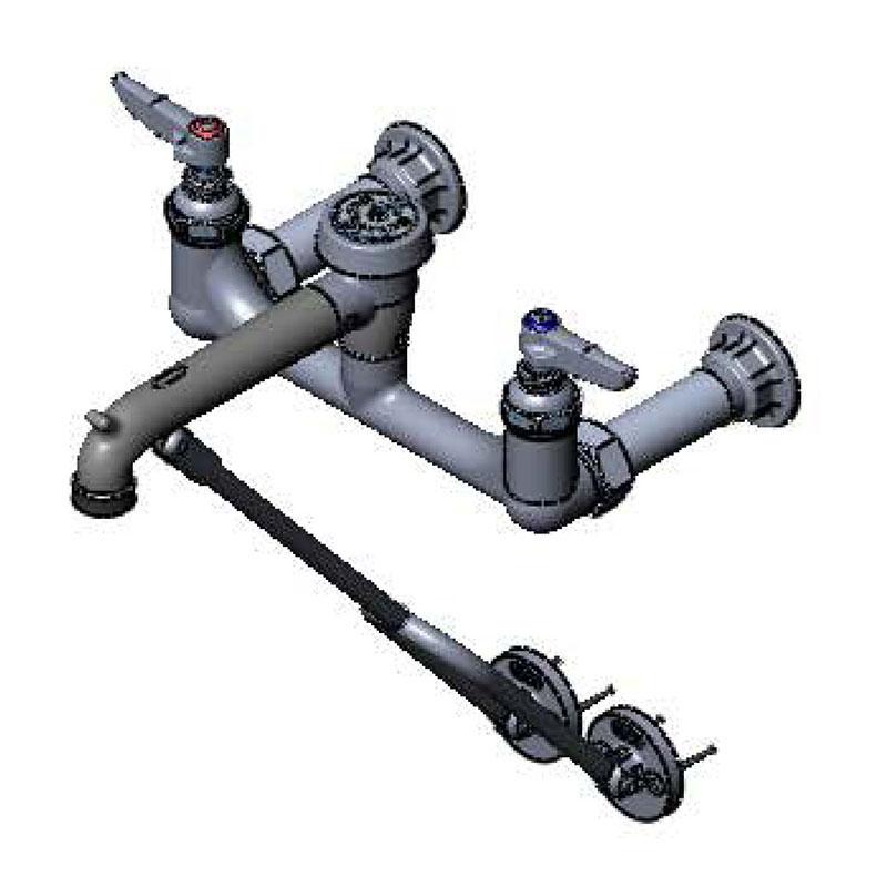 T & S Brass B-0655-RGH Service Sink Faucet w/ Adjustable Centers, Rough Chrome Finish