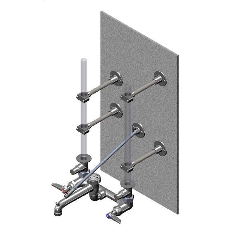 T&s Brass B-0662 Ceiling Supply Service Sink, OOJJ Stops, Vacuum Breaker