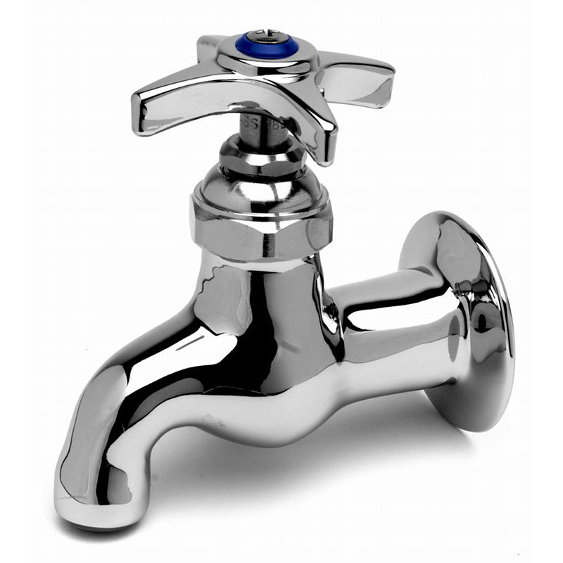 T&S B-0700 Single Sink Faucet, Heavy Duty, 4 in Wall to Spout Center