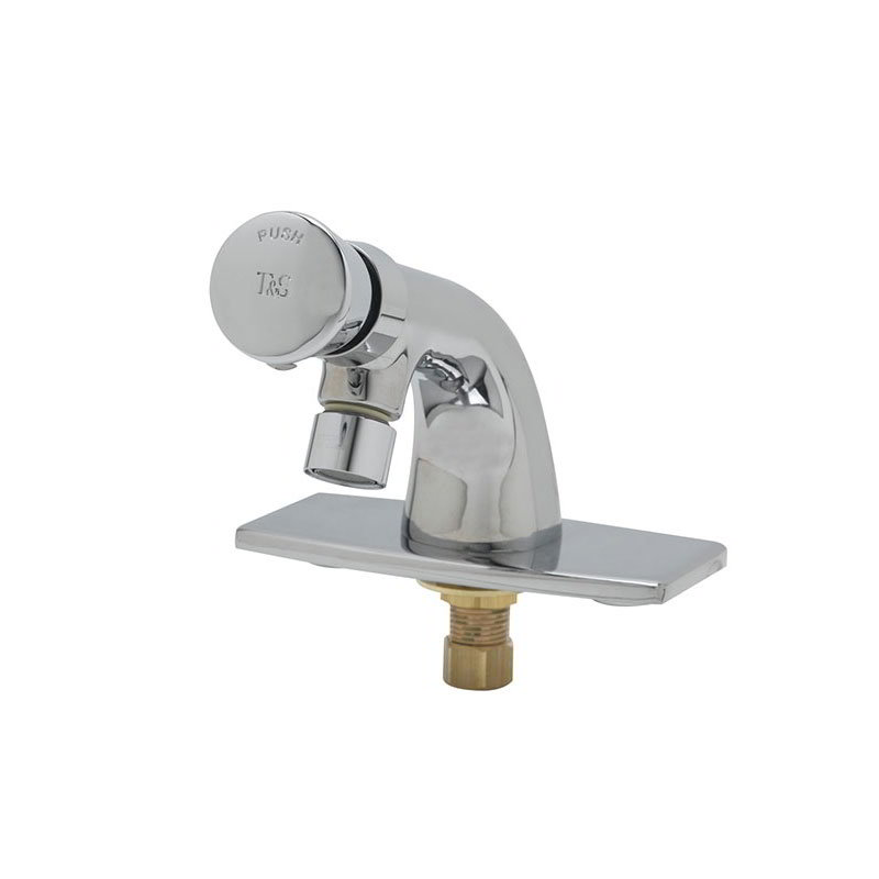 T&S Brass B-0805-VR Self Closing Faucet, Push Button, Heavy Duty, Vandal Proof Pins