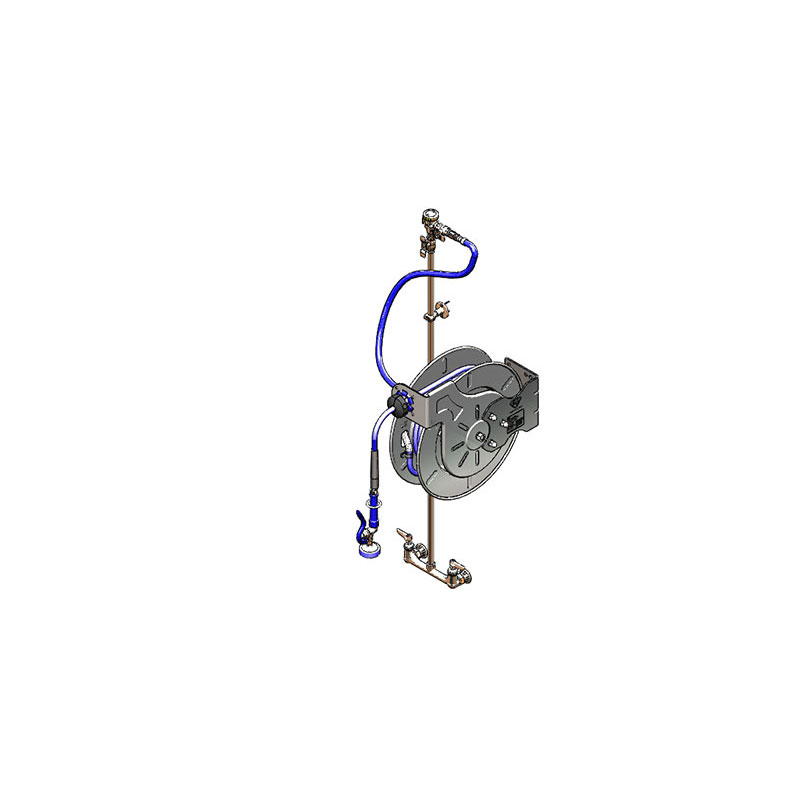 T&S Brass B-1434-RG Hose Reel Assembly, Open, 50 ft, Shut Off Valve, Blue
