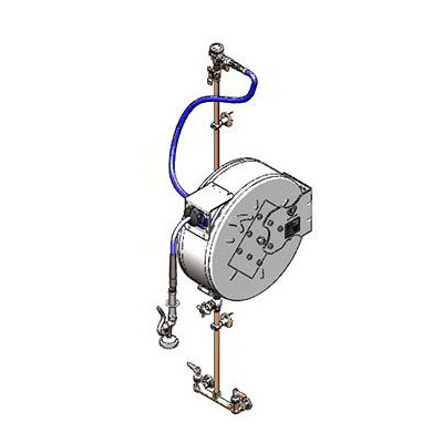 T&S B-1444-CV Enclosed Hose Reel w/ 50-ft Hose & Blue Spray Valve