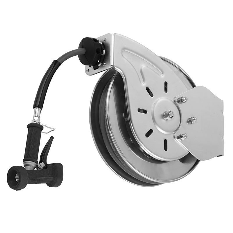 "T&S B-7132-02 Hose Reel, 35 ft, 3/8"" Diameter, Rear Water Gun, Stainless Steel"