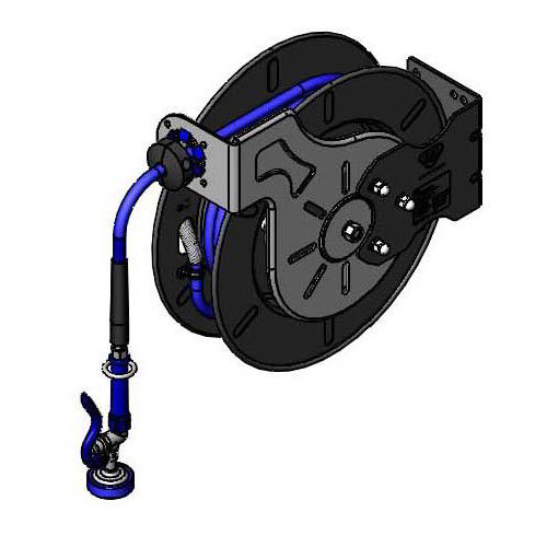 "T&S B-7242-01 Open Hose Reel w/ 50-ft Hose, 3/8"" ID & Spray Valve"