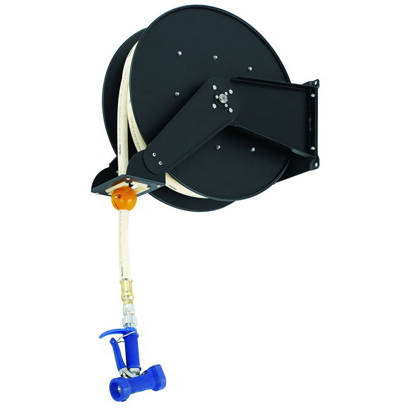 T&s Brass B-7245-06 Hose Reel, Open, Epoxy Coated Steel, 50 ft, Front Trigger Water Gun