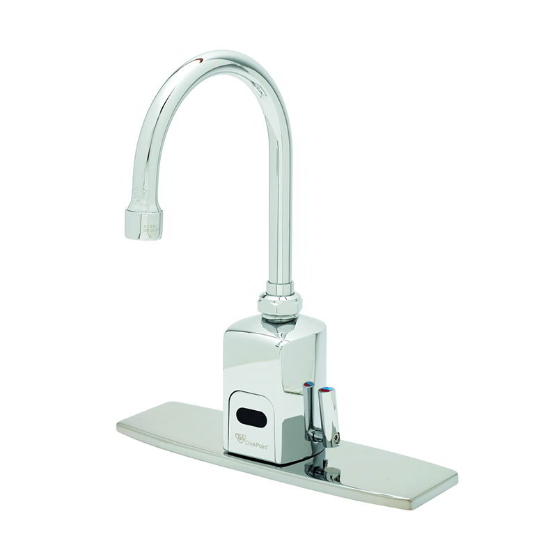 "T&S EC-3130-8DP Electronic Faucet, Deck Mount, 8"" Deck Plate, Swivel/Rigid Gooseneck"