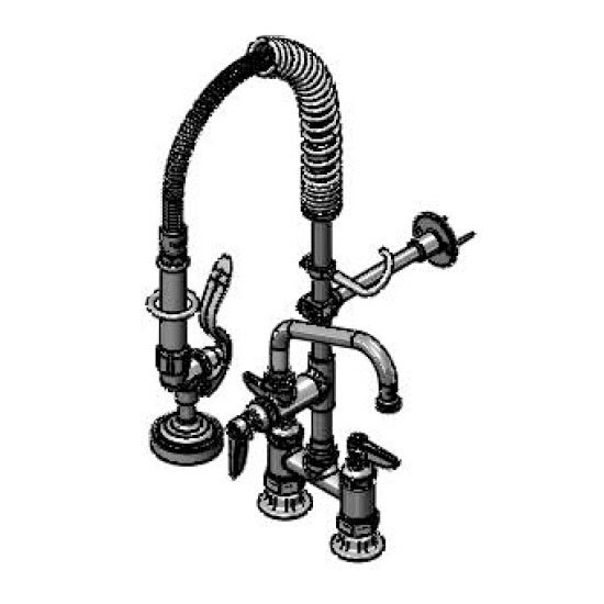 T&S MPZ4DLN06 Mini Prerinse, 4 in Deck Mount, Lever Handle, 6 in Swing Nozzle