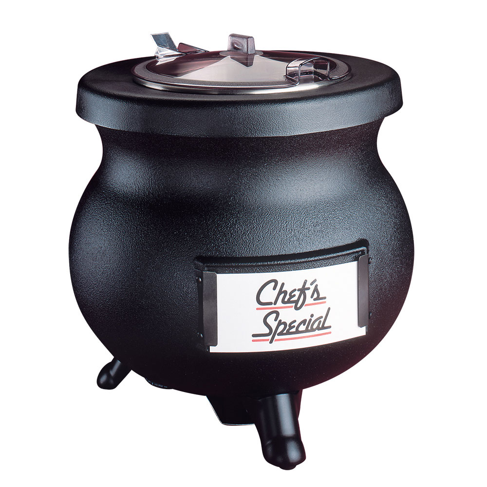 Tomlinson 1006858 12-qt Soup Kettle w/ Hinged Lid, Transport Collar, Cast Aluminum