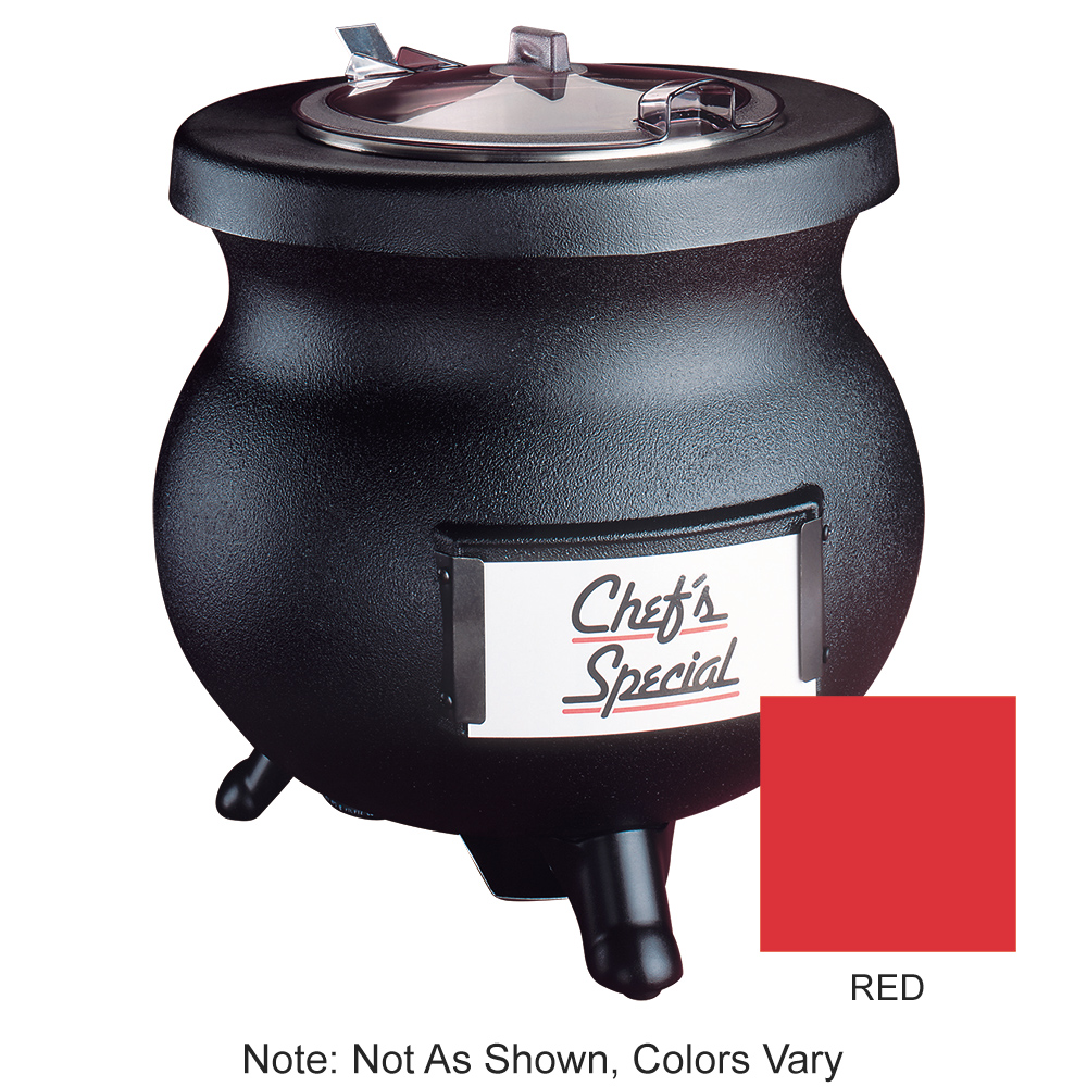 Tomlinson 1006858 RED 12-qt Deluxe Frontier Soup Kettle w/ Transport Collar, Red, 120 V