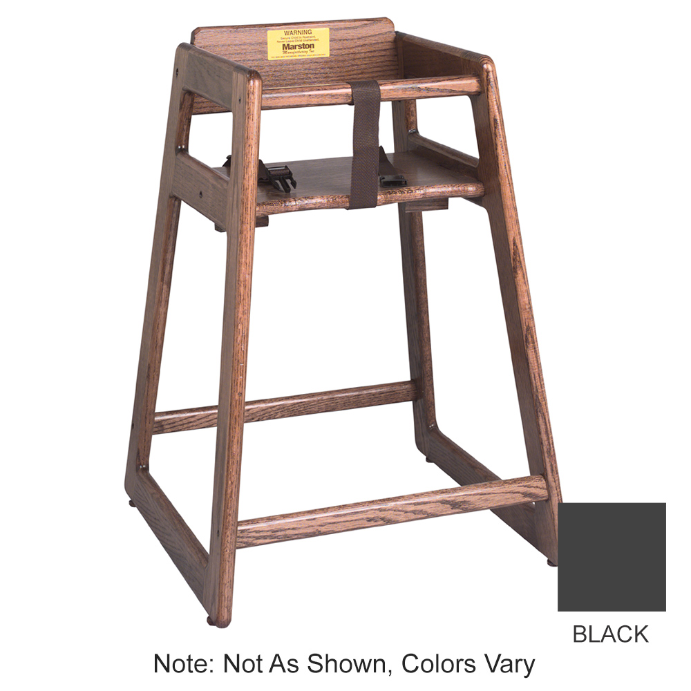 Tomlinson 1016298 Oak High Chair, Mortise & Tenon Frame, Large Contoured Seat, Black Finish