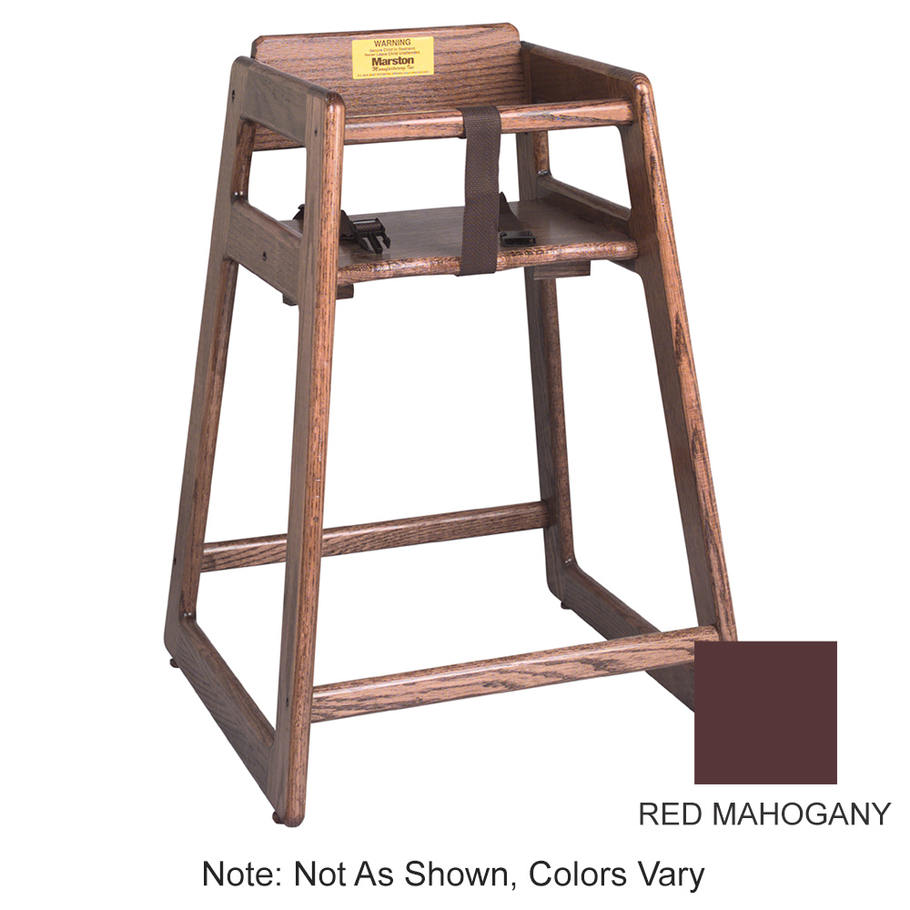 "Tomlinson 1016306 29"" Stackable High Chair w/ Waist Strap - Wood, Red Mahogany"