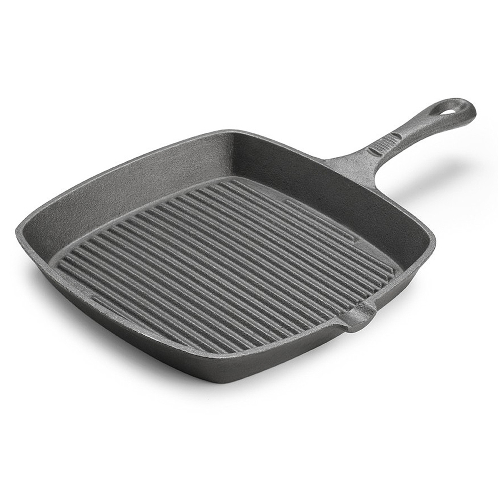 "Tomlinson 1023000 Preseasoned Square Cast Iron Skillet, 9-1/2"", Ribbed"